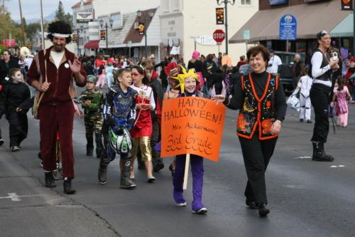 Children celebrate Halloween at Friday parade